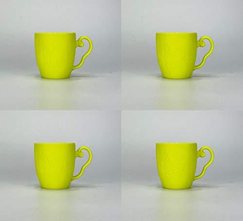 Homevibes Juego De 4 Tazas De Desayuno, Taza con Relieve Flores, Taza Mug De Cerámica, Set de 4 Tazas, Taza Mug De Cafe o Te con Relieve, Jarro para Desayuno (Amarillo Fluor)
