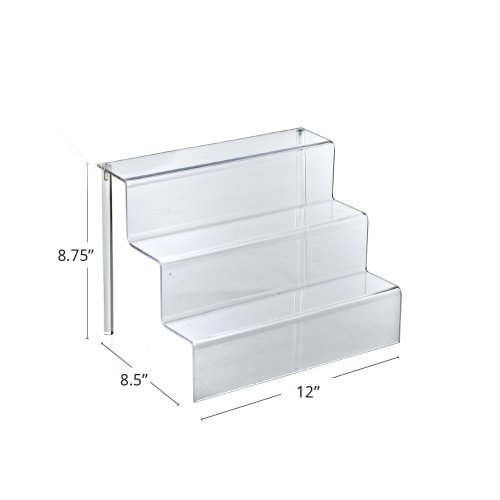 "Azar Displays 326043 12"" W by 8.5"" D Three-Tier Acrylic Step Display, 4/Pack"