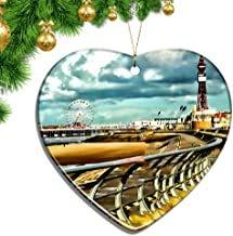 Kysd43Mill UK England Blackpool Pleasure Beach Heart Shape Christmas Ornaments Ceramic Sheet Souvenir City Travel Pendant Gift Christmas Tree Decoration Ornaments Keepsake Gifts