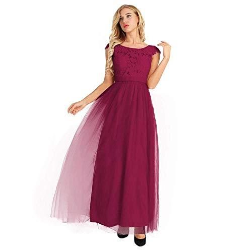 LIFU Ropa de Boda Mujer Señoras Manga Casquillo Encaje Tul Dama de Honor Vestido de Baile Nupcial Vestido Largo de Baile Vestido de Fiesta de Tul de Encaje Tutu-Pearl_Pink_16Vino rojo