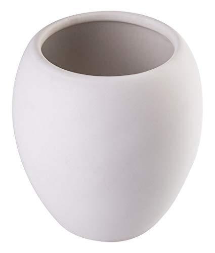 KADAX Badezimmerbecher, Zahnputzbecher aus Keramik, Badezimmer Cup 425ml, Zahnbürstenhalter, Wasser Cup ⌀ 7 cm, 9,5 x 10,5 cm, mattiert, Serie Wenus (Weiß)