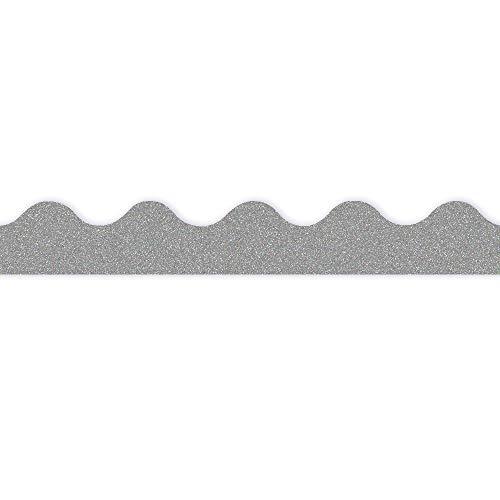 Eureka Silver Glitter Bulletin Board Trim and Classroom Decoration Strips, 12pcs, 2.25'' x 37''