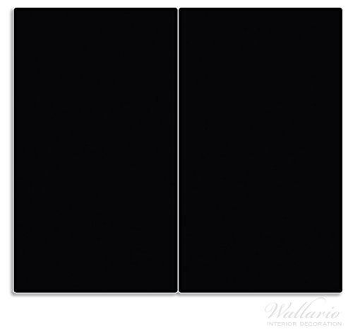 Wallario Herdabdeckplatte/Spritzschutz aus Glas, 2-teilig, 60x52cm, für Ceran- und Induktionsherde, Schwarz