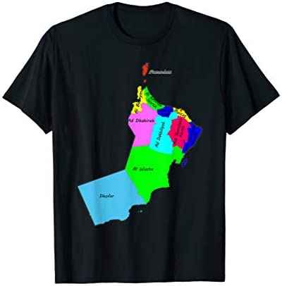 sultanate of Oman map the names of the provinces and capital T Shirt product image