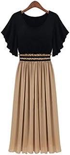 Women Chiffon Dress High Waist Ruffle Sleeve Maxi Long Dress Party Bohemia, Size:xl, G0222ca