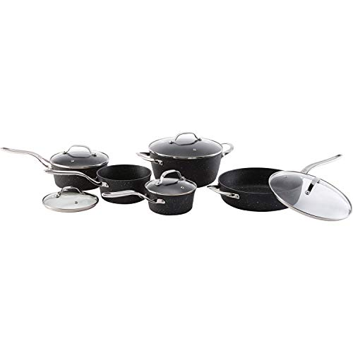 THE ROCK by Starfrit 10-Piece Cookware Set with Stainless Steel Handles, Black