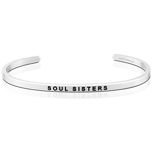 MantraBand Bracelet - Soul Sisters - Inspirational Engraved Adjustable Mantra Band Cuff Bracelet - Silver - Gifts for Women (Grey)