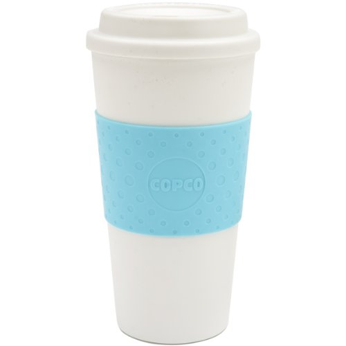 Copco Acadia Double Wall Insulated Travel Mug with Non-Slip Sleeve, 16 ounce, Azure Blue