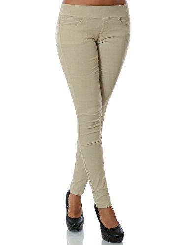Damen Treggings Hose Skinny (Röhre weitere Farben) No 14028, Farbe:Beige, Größe:M / 38
