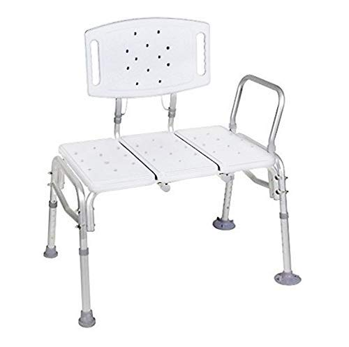 HEALTHLINE Tub Transfer Bench, Lightweight Medical Shower Chair with Back, Non-Slip Seat, Adjustable Bathtub Transfer Bench for Elderly and Disabled, Medical Bath Shower Chair, 500 lbs Capacity, White