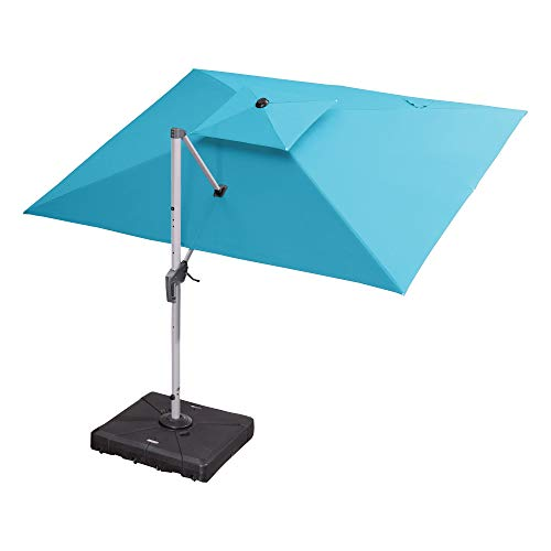 PURPLE LEAF 10' X 12' Patio Umbrella Outdoor Rectangle Umbrella Large Cantilever Umbrella Windproof Offset Umbrella Heavy Duty Sun Umbrella for Garden Deck Pool Patio, Turquoise Blue