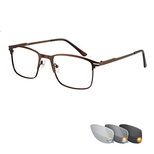Photochrome Lesebrille mit großem Rahmen für Herren, Brillen mit modischem Farbwechsel, Vollmetallrahmen und Kunstharzlinsen, komfortable Sonnenbrille, Gold