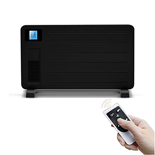 BUKEHANWEI Radiadores Bajo Consumo Electricos Pared, Calefactor Electrico Ventilador Suelo 2300W, con Temporizador y Termostato, 4 Niveles Modo Calefaccion Calor Azul (Color : Negro)