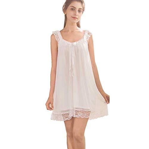 ELizoop Damen Nachtwäsche Nachthemd, Spitze Vintage viktorianischen Nachthemd, Baumwolle ärmellose sexy Nachtwäsche für Frauen (Weiß,M)