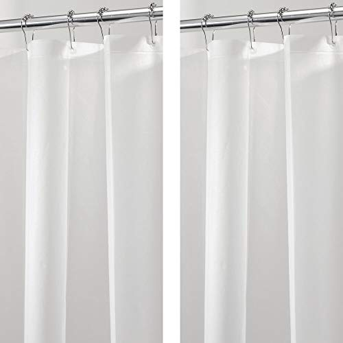 mDesign Plastic, Waterproof, Mold/Mildew Resistant, PEVA Shower Curtain Liner for Bathroom Showers and Bathtubs - No Odor - 3 Gauge, 72 inches x 72 inches - 2 Pack - Frost