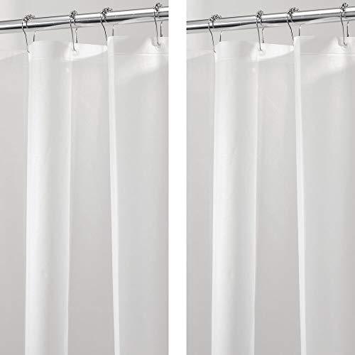 mDesign Plastic Transparent Shower Curtain Liner - Water-Resistant, PEVA, 3-Gauge, No Odor, Inner Shower Curtain Liner for Bathroom, Shower, and Tub - 2 Pack - Clear Frost
