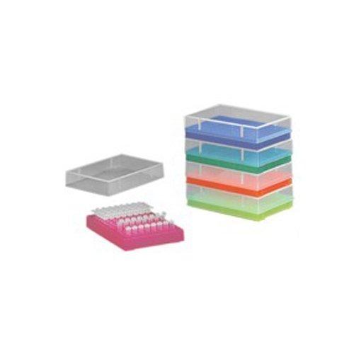 neoLab 2-2602 Aufbewahrungsrack mit Deckel für PCR/Tubes, 96 Plätze, Neon/Orange, Polypropylen