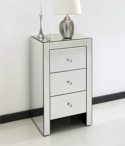 Homezone Mirrored Glass Bedside Tables Bedside Cabinets with Glass Handles and Lined Drawers. Toughened Glass Bedroom Furniture. (1, 3 Drawer Slim Bedside Table with Glass Handles)