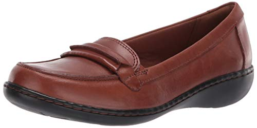 CLARKS Women's Ashland Lily Loafer,dark tan leather,9 M US