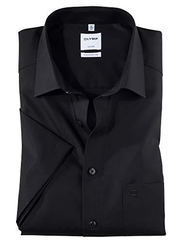 OLYMP Herren Oberhemd Kurzarm Luxor,Uni,Comfort fit,New Kent,Schwarz 68,42
