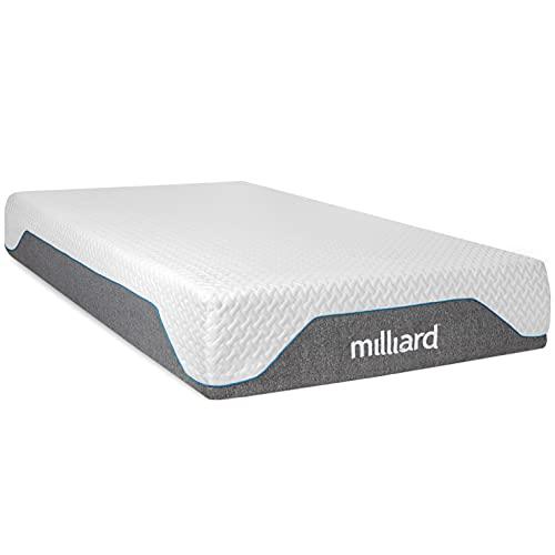 Milliard 10 Inch Semi Firm Memory Foam Mattress/CertiPUR-US Certified/Bed-in-a-Box/Pressure Relieving, Queen