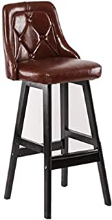 Nordic Style Bar Stool Solid Wood Bar Stool Family Bar Chair Black High Stools Front Desk Armchair (Color : C)
