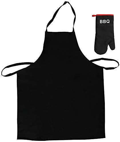 COM-FOUR® BBQ set met grillschort en grillhandschoen in zwart (02 stuks - grillset schort + handschoen)