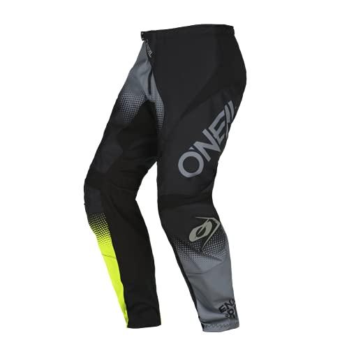 O'NEAL | Motocross-Hose | Enduro MX | Maximale Bewegungsfreiheit, Leichtes, Atmungsaktives und langlebiges Design | Pants Element Racewear V.22 | Erwachsene | Schwarz Grau Neon-Gelb | Größe 36/52