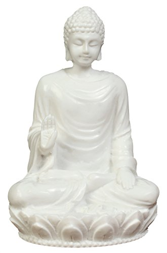 3in Buddha Statue/Idol/Decorative Figurine: Poly Marble with White Marble Finish. Premium Quality Buddha Idol in Meditation Pose. Serene Small Buddha Statue. Buddha Décor for Good Luck.