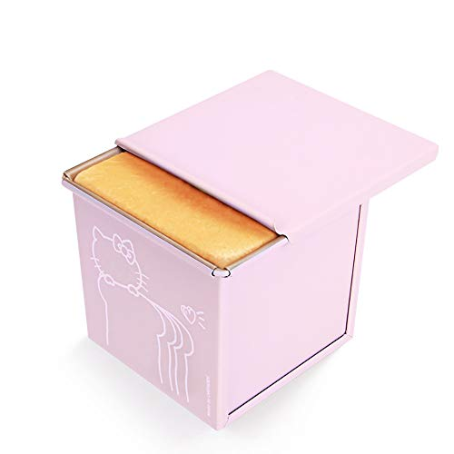 Mini Nonstick Loaf Pan, Aluminized Steel Bread Toast Mold with Cover, 4.5 IN Pink