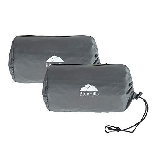 BlueHills Ultrakompakte Reisedecke, 2 Stück, groß, weich, gemütlich, tragbar, mit Tragetasche und für Flugreisen, Flugzeuge, Autos, Camping, Hotel, Grau, C202-2PK-Grau