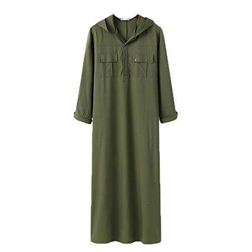 Hombres Musulmán Jubba Thabe con Capucha Capuchacha Islámica Bolsillos de Kaftan Robas de Color sólido Dubai Saudi Arabia Ropa