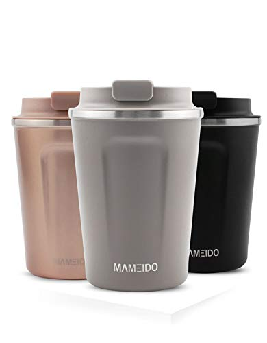 MAMEIDO Thermobecher Taupe Grau 350ml 0,35l - Kaffeebecher, Edelstahl doppelwandig isoliert, auslaufsicher, Coffee to go, Kaffee & Tee Isolierbecher Travel Mug