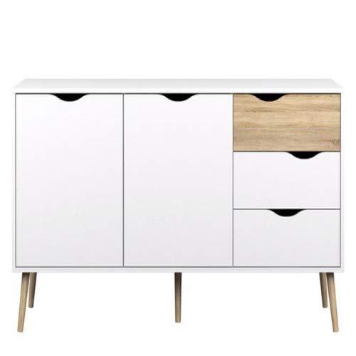 Tvilum- Delta, Sideboard,Oak/White,155X52x20 Function Plus Schreibtisch Sideboard, Eiche, 155X52x20