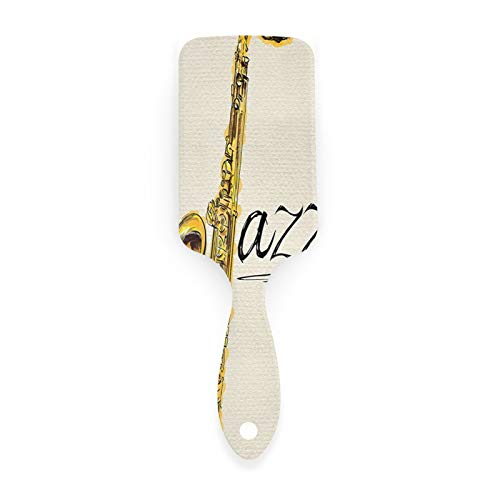 Jazz Music Decor Collection Classic Painting Of Jazz Saxophone Print On Plain Background Vintage Style Decor Yellow Ecru Air Cushion Comb Hairbrushes