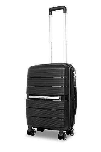 Vienna Durable Hard Shell Suitcase (Black) 20 Inch Expandable Hardside Suitcase, 55 cm, 4 Wheels, Carry On Hand Luggage with 5 Year Warranty