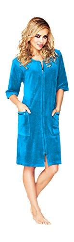 Damen Leichte Baumwolle Bademantel, Kurz Lange, Armel Und Reissverschluss Schliessen (Türkisblau, 48)