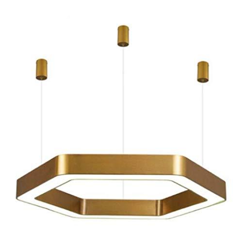 GJX Lampadario Moderno, Creativo Semplice Oro Acrilico Appeso Linea Luce, Ristorante Camera da Letto Ufficio Esagonale LED Lampada a Sospensione, 110V-220V,60CM