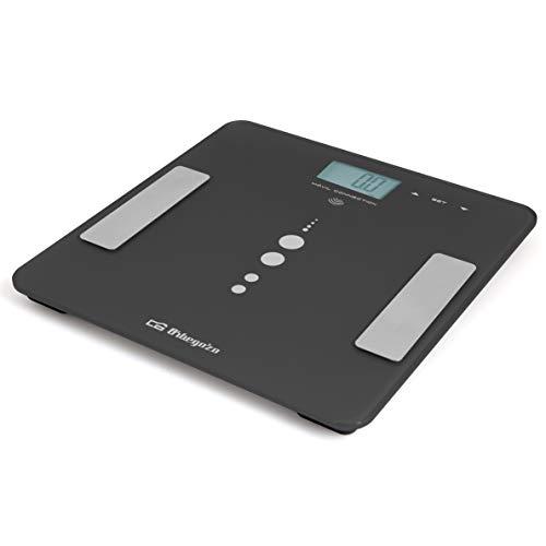 Orbegozo PB 3010 - Báscula de baño bluetooth, conexión Android e iOS, memoria hasta 12 personas, capacidad máxima 180 Kg, plataforma de cristal templado