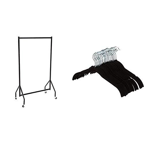 Amazon Basics - Robuster Kleiderständer, 0,91 x 1,52 m & Kleiderbügel für Hemd / Kleid, mit Samt überzogen, 30er-Pack, Schwarz