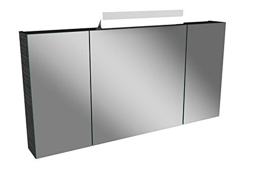 Lanzet LED Spiegelschrank L1 / Badschrank mit LED Leuchte/Maße (B x H x T): ca. 120 x 68 x 14,5 cm/Möbel fürs Bad oder WC/Badezimmer Schrank mit 3 Türen/Korpus: Schwarz/Front: Spiegel