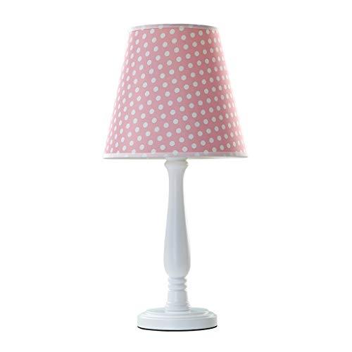 Lámparas de Escritorio Tabla de madera muchacha dormitorio de la lámpara lámpara de cabecera tela de la lámpara de la sala dormitorio de la lámpara pequeña tabla Lámpara de Mesa (Color : Pink)