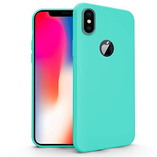 N NEWTOP Cover Compatibile per Apple iPhone X, Custodia TPU Soft Gel Silicone Ultra Slim Sottile Flessibile Case Posteriore Protettiva (Turchese)