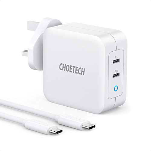 USB C Charger, CHOETECH PD100W Charger, GaN Charger Adapter with USB C to C Cable Compatible with 96W MacBook Pro, MacBook Air, Dell XPS, iPad Pro, iPhone 12 Pro Max/XS Max, USB-C Laptops-White