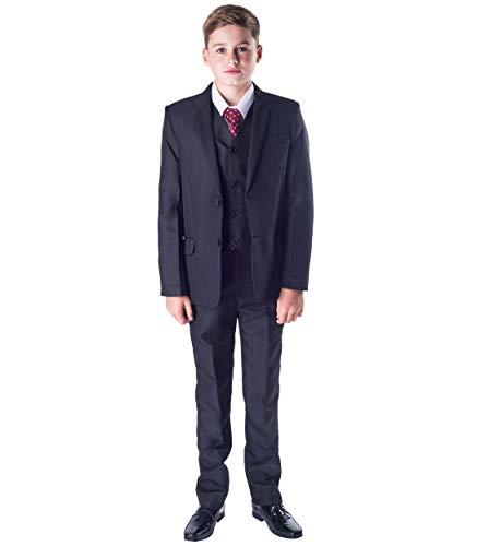 Traje clásico de niño que lleva los anillos a los novios, de Romario, 5piezas, color negro Negro negro 2-3 Años