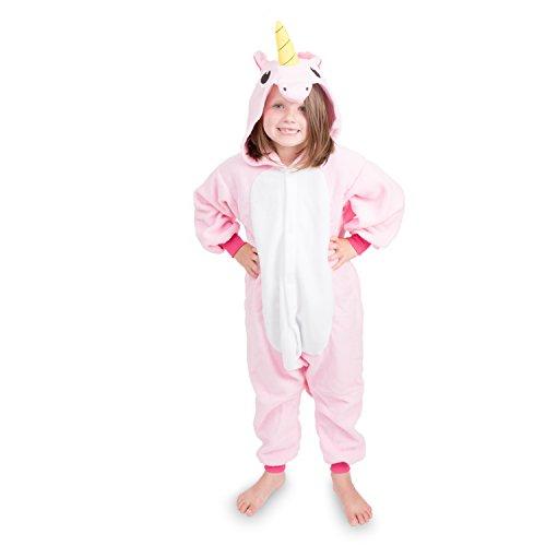 Emolly Fashion Kids Animal Unicorn Pajama Onesie - Soft and Comfortable with Pockets (8, Pink)