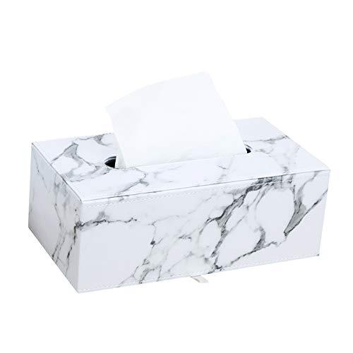 Jabroyee Caja de pañuelos faciales de Cuero, Caja de Soporte para pañuelos de mármol de 9,83 x 5,50 x 3,73 Pulgadas, Soporte para servilletas para Oficina en el hogar, decoración de automóviles