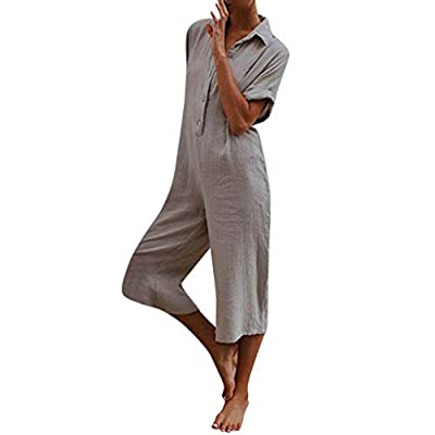 Aniywn Women's Oversize Short Sleeve Casual Solid Harem Pants Loose Button Wide Leg Trousers Jumpsuit