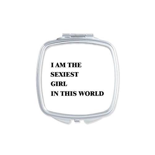 DIYthinker Je suis Le Maquillage Compact Fille la Plus Sexy Miroir carré Portable Mignon de Cadeau Miroirs de Poche à la Main Multicolor