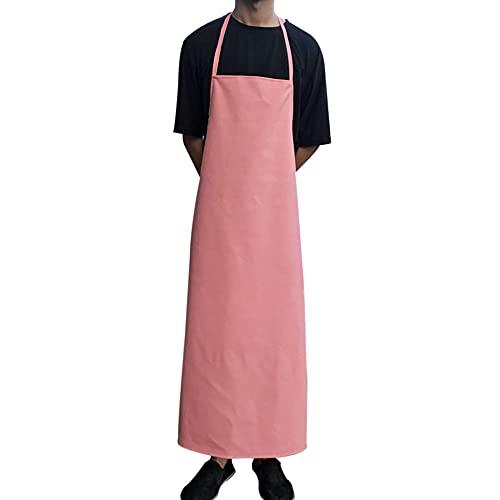 MJAHQ grembiule da macellaio uomo in pelle grembiule in pelle da falegname impermeabile e all'olio per impianti di trasformazione alimentare, tute per autolavaggio industriale-rosa_L-110x65cm